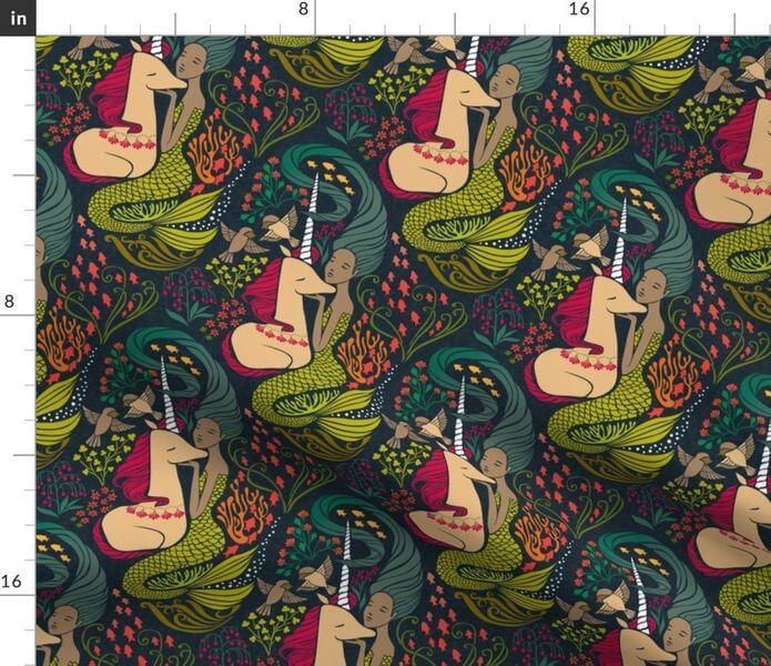 mermaid and unicorn fabric