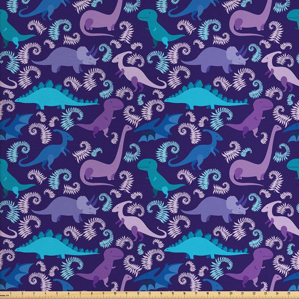 purple dinosaur fabric