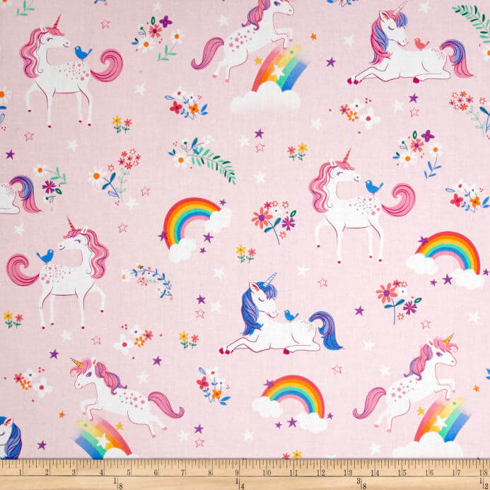 pink unicorn and rainbow fabric