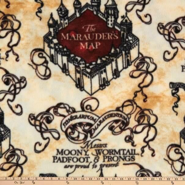 Marauders Map fabric in fleece